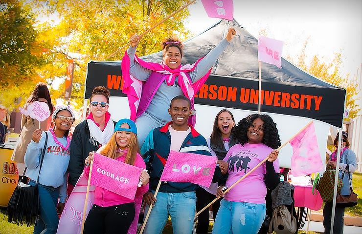 Students participate in national breast cancer awareness walk