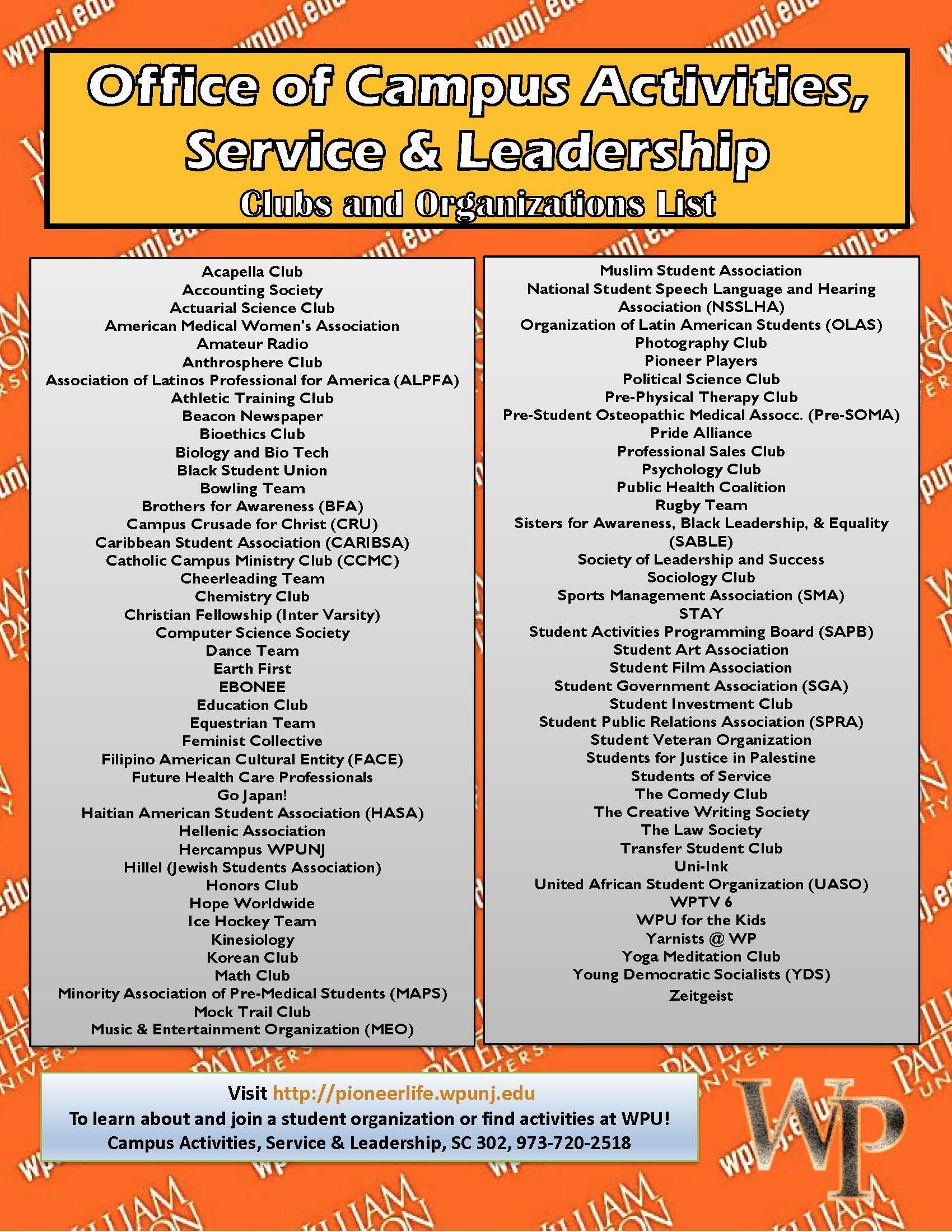 wel e to campus activities service leadership william