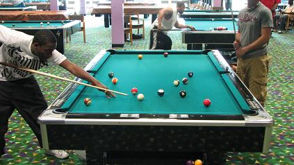 Students playing pool.