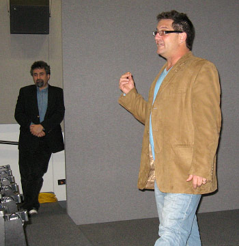 "Denny Tedesco (with Professor Leeds in background) discussing DVD ""The Wrecking Crew,"" his documentary about the LA studio musicians of the 1960s. March 31, 2009."
