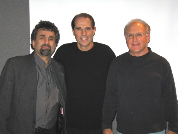 Veteran record promo man Jeff McClusky (center) with Professor Steve Leeds and Program Director Dr. Stephen Marcone. February 2008.