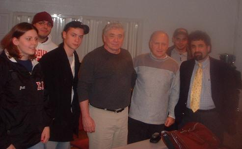 Former Chairman of CBS Records Group, Walter Yetnikoff with Professors Stephen Marcone, Steven Leeds and William Paterson University students.