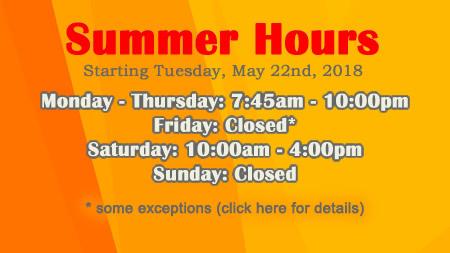 2018 Summer Hours